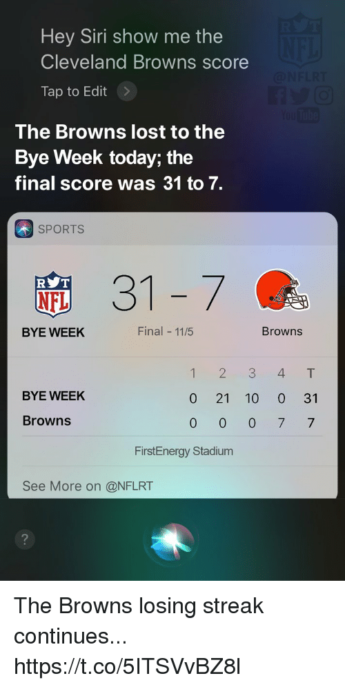 Cleveland Browns, Nfl, and Siri: Hey Siri show me the  Cleveland Browns score  Tap to Edit>  The Browns lost to the  Bye Week today; the  final score was 31 to 7.  SPORTS  31-7  R T  NFL  BYE WEEK  Final 11/5  Browns  12 3 4T  BYE WEEK  0 21 10 0 31  Browns  FirstEnergy Stadium  See More on @NFLRT The Browns losing streak continues... https://t.co/5ITSVvBZ8l