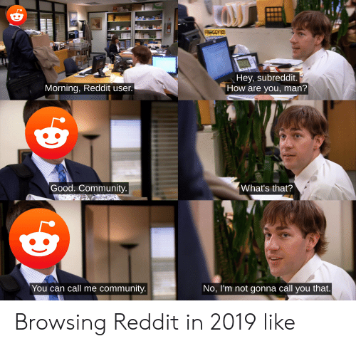Community, Reddit, and Good: Hey, subreddit.  How are you, man'?  Morning, Reddit user  Good. Community  What's that?  You can call me community  No, l'm not gonna call you that Browsing Reddit in 2019 like