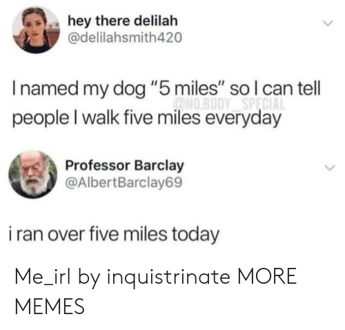 "Dank, Memes, and Target: hey there delilah  @delilahsmith420  Inamed my dog ""5 miles"" so l can tell  ONO.BODY SPECIA  people I walk five miles everyday  Professor Barclay  @AlbertBarclay69  i ran over five miles today Me_irl by inquistrinate MORE MEMES"
