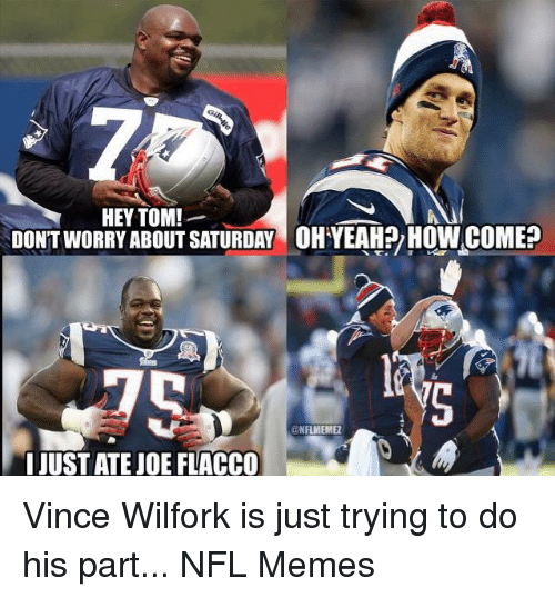 Memes, Nfl, and Joe Flacco: HEY TOM!  DONTWORRY ABOUT SATURDAY OH YEAHPy How COME?  ONAMENME  I JUSTATE JOE FLACCO Vince Wilfork is just trying to do his part...  NFL Memes