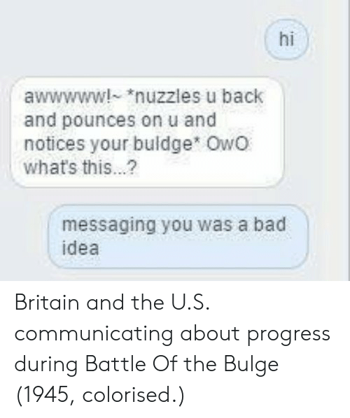 Bad, Britain, and Back: hi  awwwww! nuzzles u back  and pounces on u and  notices your buldge owo  what's this...?  messaging you was a bad  idea Britain and the U.S. communicating about progress during Battle Of the Bulge (1945, colorised.)