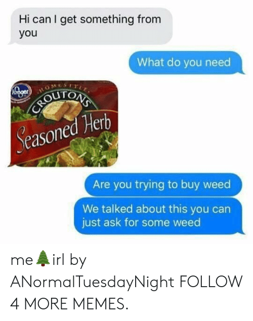 Dank, Memes, and Reddit: Hi can I get something from  you  What do you need  Mrger  HO  CAROUTCAS  Seasoned Herb  Are you trying to buy weed  We talked about this you can  just ask for some weed me🌲irl by ANormalTuesdayNight FOLLOW 4 MORE MEMES.