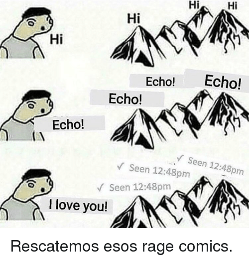 Love, I Love You, and Rage Comics: Hi Hi  Hi  Hi  Echo! Echo!  Echo!  Echo!  Seen 12:48pm  V Seen 12:48pm  Seen 12:48pm  I love you! Rescatemos esos rage comics.