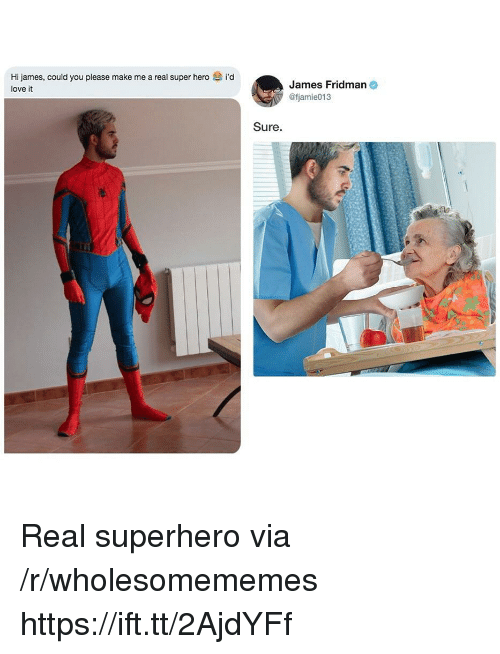 Love, Superhero, and Hero: Hi james, could you please make me a real super hero i'd  love it  James Fridman  @fjamie013  Sure. Real superhero via /r/wholesomememes https://ift.tt/2AjdYFf