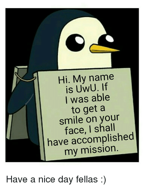 Smile, Nice, and Name: Hi. My name  is UwU. If  I was able  to get a  smile on your  face, I shall  have accomplished  my mission Have a nice day fellas :)