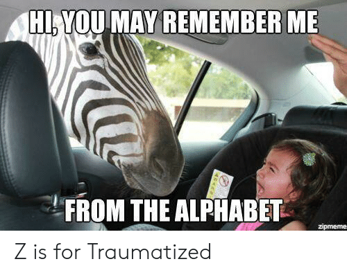 Traumatized: HI,YOU MAY REMEMBER ME  FROM THE ALPHABET  zipmeme Z is for Traumatized