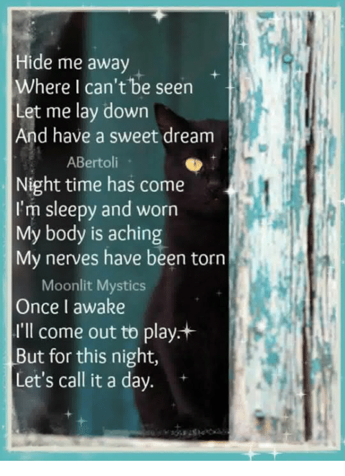 Memes, Time, and Been: Hide me away  Where I can't be seen  Let me lay down  And have a sweet dream  ABertoli  Night time has come  I'm sleepy and worn  My body is aching  My nerves have been torn  Moonlit Mystics  Once I awake  I'll come out to play+  But for this night,  Let's call it a day. +