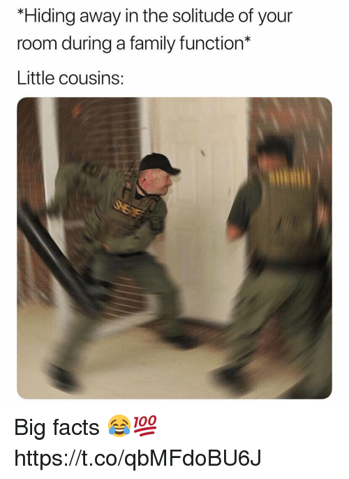 Facts, Family, and Solitude: *Hiding away in the solitude of your  room during a family function*  Little cousins: Big facts 😂💯 https://t.co/qbMFdoBU6J