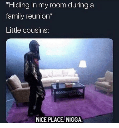 Family, Nice, and Cousins: *Hiding In my room during a  family reunion*  Little cousins  NICE PLACE NIGGA