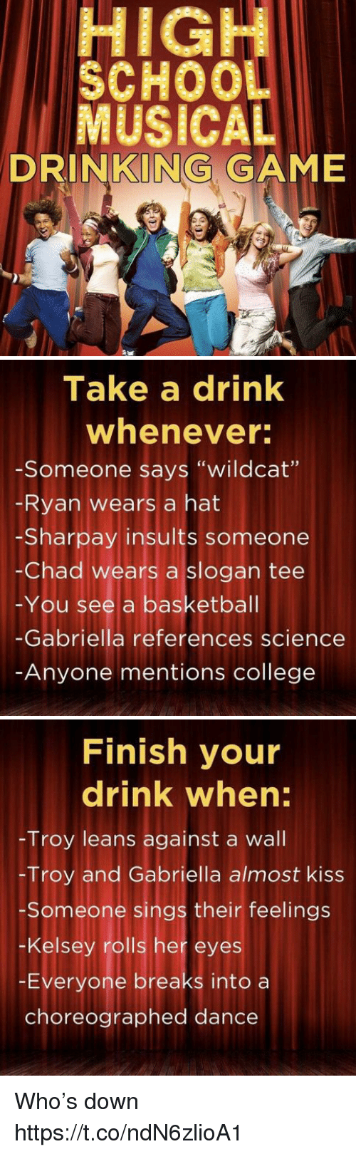"Chads: HIGH  SCHOOL  MUSICAL  DRINKING GAME   Take a drink  whenever  -Someone says ""wildcat'""  Ryan wears a hat  -Sharpay insults someone  -Chad wears a slogan tee  You see a basketball  Gabriella references science  Anyone mentions college   Finish your  drink when:  Troy leans against a wall  -Troy and Gabriella almost kiss  Someone sings their feelings  -Kelsey rolls her eyes  Everyone breaks into a  choreographed dance Who's down https://t.co/ndN6zlioA1"