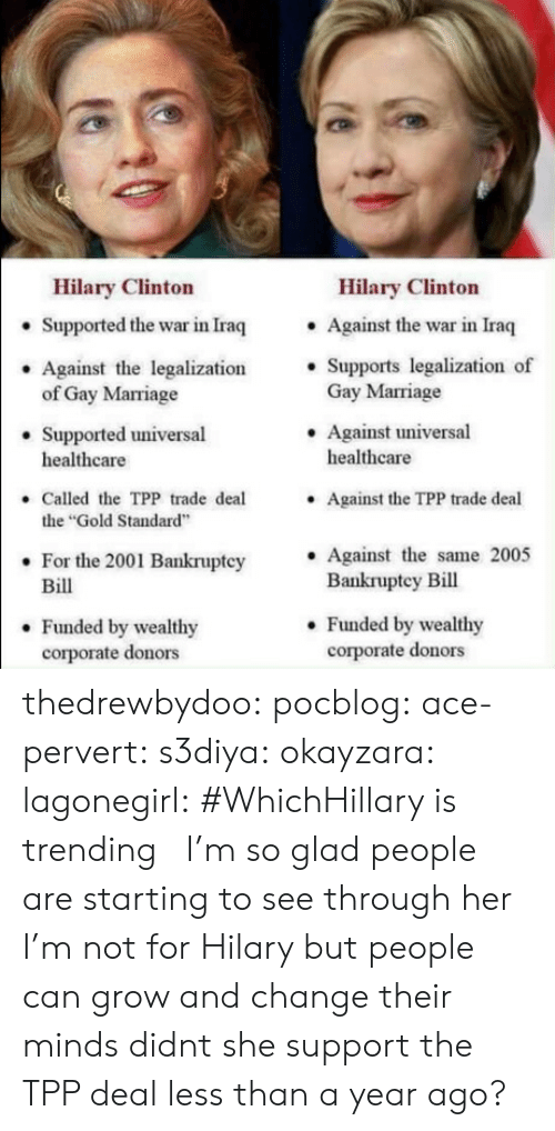 """Gif, Marriage, and Target: Hilary Clinton  Hilary Clinton  . Against the war in Iraq  . Supports legalization of  Supported the war in Iraq  Against the legalization'  Gay Marriage  .Against universal  of Gay Marriage  Supported universal  healthcare  healthcare  Called the TPP trade deal  the """"Gold Standard  For the 2001 Bankruptcy Against the same 2005  Against the TPP trade deal  .  Bill  Bankruptey Bill  . Funded by wealthy  corporate donors  . Funded by wealthy  corporate donors thedrewbydoo:  pocblog:  ace-pervert: s3diya:  okayzara:  lagonegirl:    #WhichHillary is trending   I'm so glad people are starting to see through her  I'm not for Hilary but people can grow and change their minds  didnt she support the TPP deal less than a year ago?"""