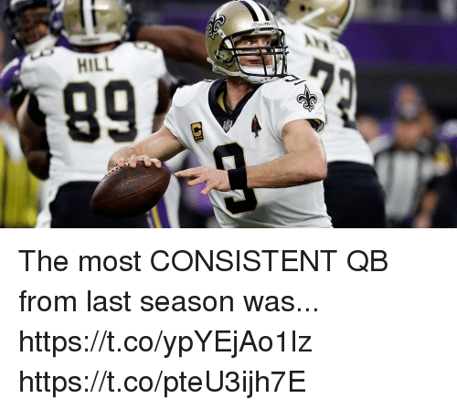 Memes, 🤖, and Consistent: HILL The most CONSISTENT QB from last season was... https://t.co/ypYEjAo1lz https://t.co/pteU3ijh7E