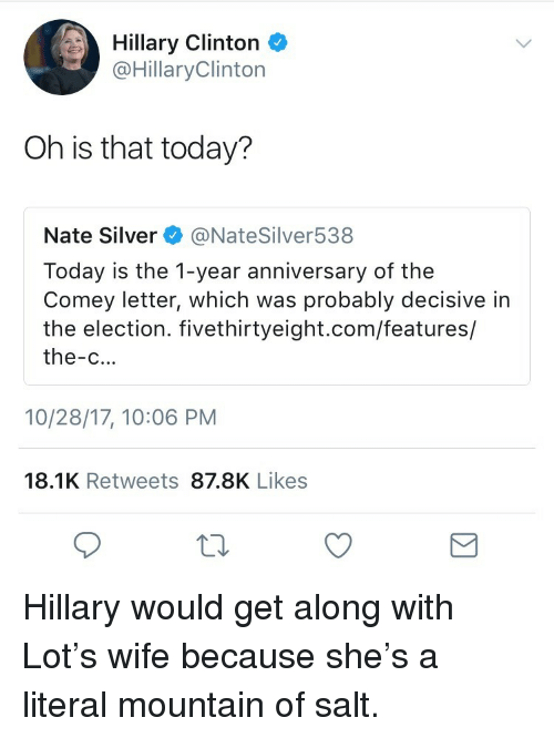 Hillary Clinton, Silver, and Today: Hillary Clinton  @HillaryClinton  Oh is that today?  Nate Silver @NateSilver538  Today is the 1-year anniversary of the  Comey letter, which was probably decisive in  the election. fivethirtyeight.com/features/  the-c...  10/28/17, 10:06 PM  18.1K Retweets 87.8K Likes <p>Hillary would get along with Lot&rsquo;s wife because she&rsquo;s a literal mountain of salt.</p>