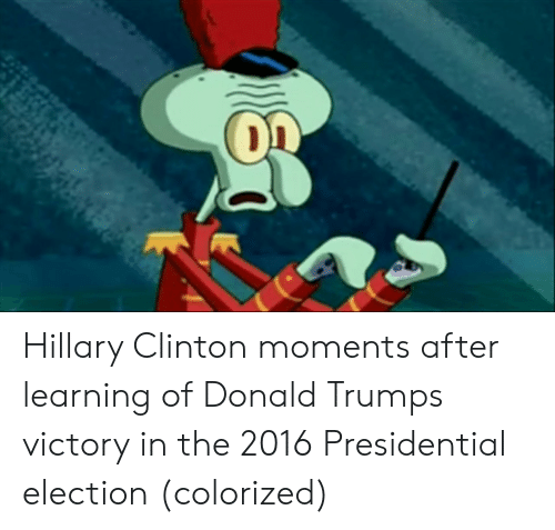 Donald Trump, Hillary Clinton, and Presidential Election: Hillary Clinton moments after learning of Donald Trumps victory in the 2016 Presidential election (colorized)