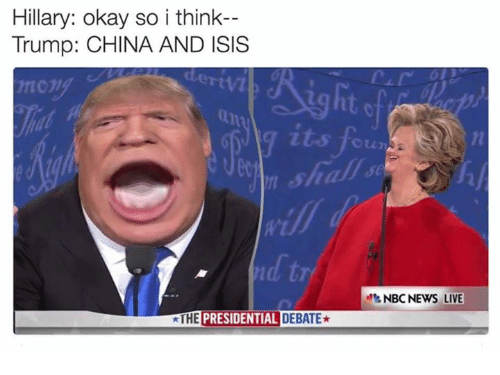 Presidential Debate: Hillary: okay so i think-  Trump: CHINA AND ISIS  THE  PRESIDENTIAL DEBATE*  NBC NEWS LIVE