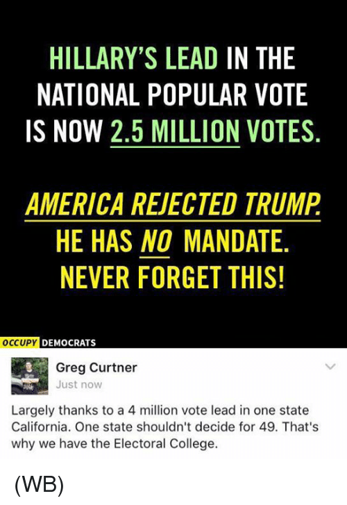America, College, and Memes: HILLARY'S LEAD IN THE  NATIONAL POPULAR VOTE  IS NOW 2,5 MILLION VOTES  AMERICA REVECTED TRUMP  HE HAS NO MANDATE  NEVER FORGET THIS!  occupy DEMOCRATS  Greg Curtner  Just now  Largely thanks to a 4 million vote lead in one state  California. One state shouldn't decide for 49. That's  why we have the Electoral College. (WB)