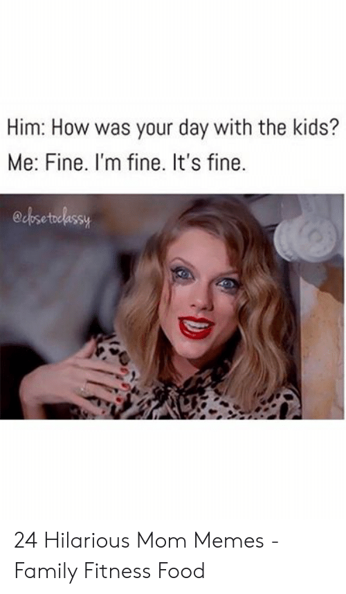 Family, Food, and Memes: Him: How was your day with the kids?  Me: Fine. I'm fine. It's fine.  edbsetelessy 24 Hilarious Mom Memes - Family Fitness Food