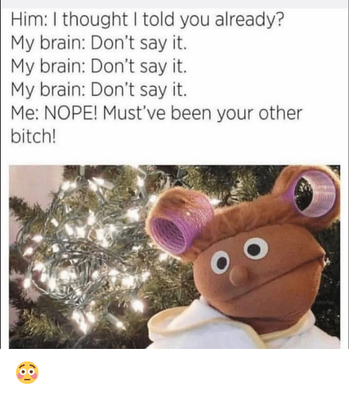 Bitch, Funny, and Say It: | Him: I thought I told you already?  My brain: Don't say it.  My brain: Don't say it.  My brain: Don't say it.  Me: NOPE! Must've been your other  bitch! 😳