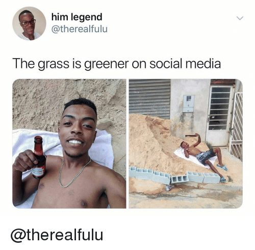 Social Media, Dank Memes, and Media: him legend  @therealfulu  T he grass IS greener on social media @therealfulu
