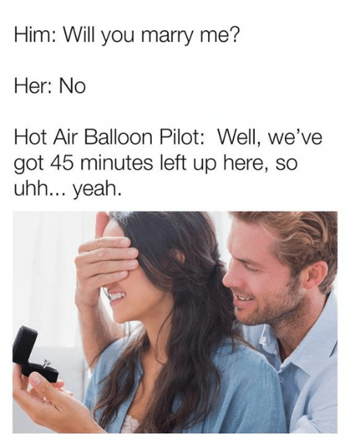 Dank, Yeah, and Hot Air: Him: Will you marry me?  Her: No  Hot Air Balloon Pilot: Well, we've  got 45 minutes left up here, so  uhh... yeah