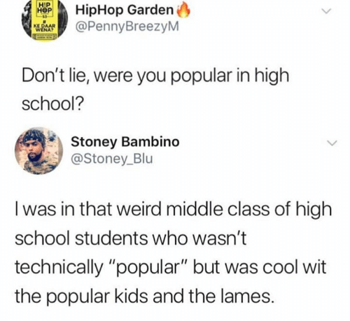 "School, Weird, and Cool: HipHop Garden  @PennyBreezyM  Don't lie, were you popular in high  school?  Stoney Bambino  @Stoney_Blu  I was in that weird middle class of high  school students who wasn't  technically ""popular"" but was cool wit  the popular kids and the lames."