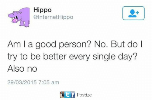Hippoe: Hippo  @Internet Hippo  Am l a good person? No. But do  l  try to be better every single day?  Also no  29/03/2015 7:05 am  tf Postize