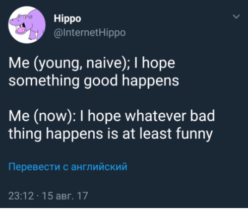 Bad, Funny, and Good: Hippo  @InternetHippo  Me (young, naive); I hope  something good happens  Me (now): I hope whatever bad  thing happens is at least funny  Перевести с английский  23:12 15 aBr. 17