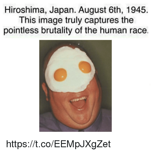 brutality: Hiroshima, Japan. August 6th, 1945.  This image truly captures the  pointless brutality of the human race. https://t.co/EEMpJXgZet