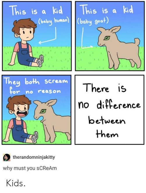 Baby Goat: his is ak  his is a Ki  (baby goat)  babu human  They both scream  There is  no ditterence  between  or no reason  em  therandomninjakitty  why must you sCReAm Kids.