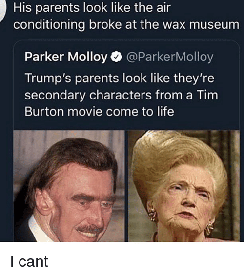 Life, Memes, and Parents: His parents look like the air  conditioning broke at the wax museum  Parker Molloy @ParkerMolloy  Trump's parents look like they're  secondary characters from a Tim  Burton movie come to life I cant