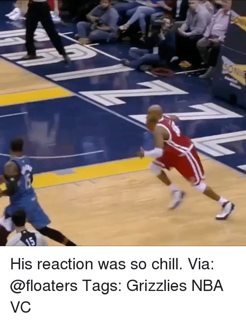 Memes, 🤖, and Grizzly: His reaction was so chill. Via: @floaters Tags: Grizzlies NBA VC