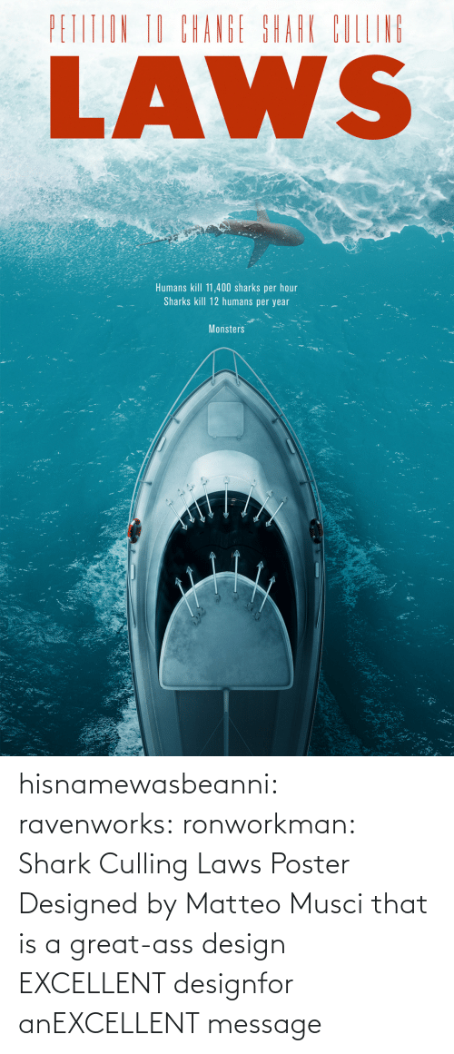 Laws: hisnamewasbeanni: ravenworks:  ronworkman:  Shark Culling Laws Poster Designed byMatteo Musci    that is a great-ass design  EXCELLENT designfor anEXCELLENT message