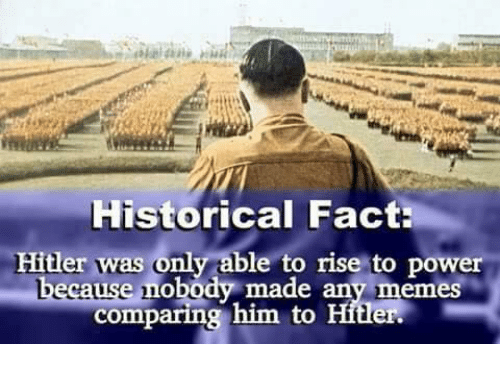 Hitlerism: Historical Fact  Hitler was only able to rise to power  made any memeS  comparing him to