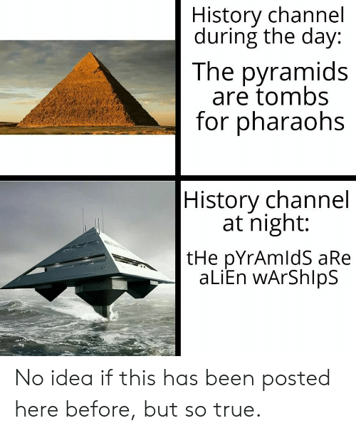 history channel: History channel  during the day:  The pyramids  are tombs  for pharaohs  History channel  at night:  tHe pYrAmldS aRe  aLiEn wArShlpS No idea if this has been posted here before, but so true.