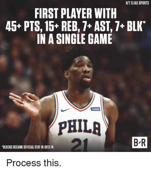 """Sports, Game, and Single: HIT ELIAS SPORTS  FIRST PLAYER WITH  45* PTS, 15+ REB,7+ AST,7+ BLK""""  IN A SINGLE GAME  StubHub  PHILA  B R  BLOCKS BECAME OFFICIAL STAT IN 1973-74 Process this."""