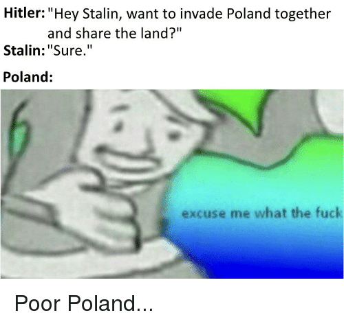 """Fuck, History, and Hitler: Hitler: """"Hey Stalin, want to invade Poland together  Stalin:""""Sure.""""  Poland:  and share the land?""""  excuse me what the fuck"""