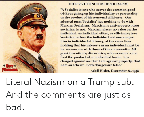 """Bad, Community, and True: HITLER'S DEFINITION OF SOCIALISM  """"A Socialist is one who serves the common good  without giving up his individuality  or the product of his personal efficiency. Our  adopted term 'Socialist' has nothing to do with  Marxian Socialism. Marxism is anti-property; true  socialism is not. Marxism places  individual, or individual effort, or efficiency; true  Socialism values the individual and encourages  him in individual efficiency, at the same time  holding that his interests as an individual must be  in consonance with those of the community. All  great inventions, discoveries, achievements were  first the product of an individual brain. It is  charged against  I am an atheist. Both charges  personality  or  no value on the  me that I am against property, that  are false.""""  ther  Rlamann  - Adolf Hitler, December 28, 1938 Literal Nazism on a Trump sub. And the comments are just as bad."""