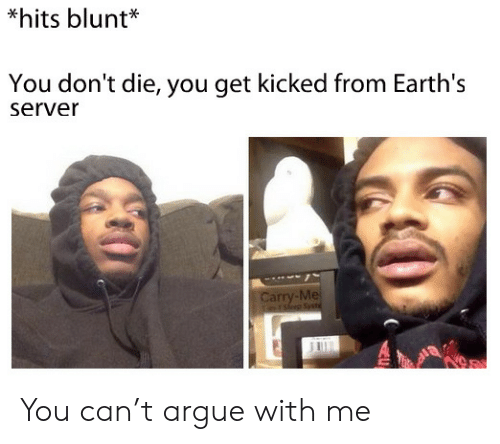 Arguing, Server, and Can: *hits blunt*  You don't die, you get kicked from Earth's  server  Carry-Me  rsep Sst You can't argue with me