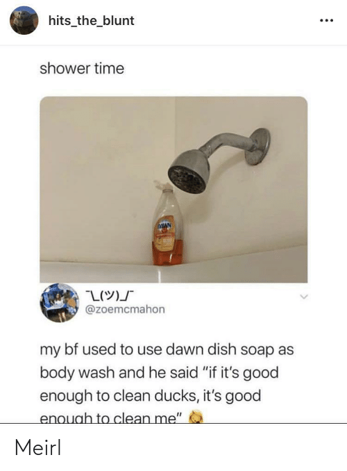 "Hits: hits_the_blunt  shower time  DAWN  @zoemcmahon  my bf used to use dawn dish soap as  body wash and he said ""if it's good  enough to clean ducks, it's good  enough to clean me"" Meirl"