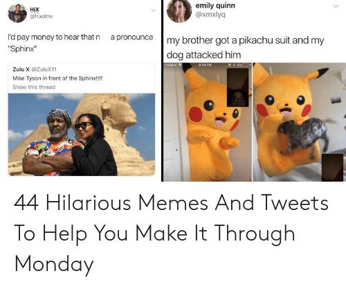 """Memes, Mike Tyson, and Money: HiX  @hixdmv  emily quinn  @xmxlyq  rd pay money to hear that n a pronouncemy brother got a pikachu suit and my  """"Sphinx""""  dog attacked him  Zulu X @ZuluX11  Mike Tyson in front of the Sphinx!!!  Show this threac 44 Hilarious Memes And Tweets To Help You Make It Through Monday"""