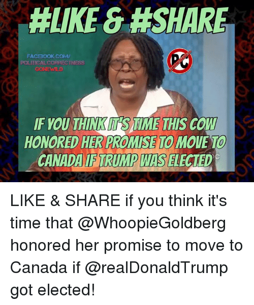 Memes, Political Correctness, and 🤖: HLIKE &#SHARE  FACBOOK COMM/  POLITICAL CORRECTNESS  IF YOU THINKM SAIME THIS COW  HONORED HER PROMISE MOUE TO  CANADA TRUMP WIS  ELECTED LIKE & SHARE if you think it's time that @WhoopieGoldberg honored her promise to move to Canada if @realDonaldTrump got elected!