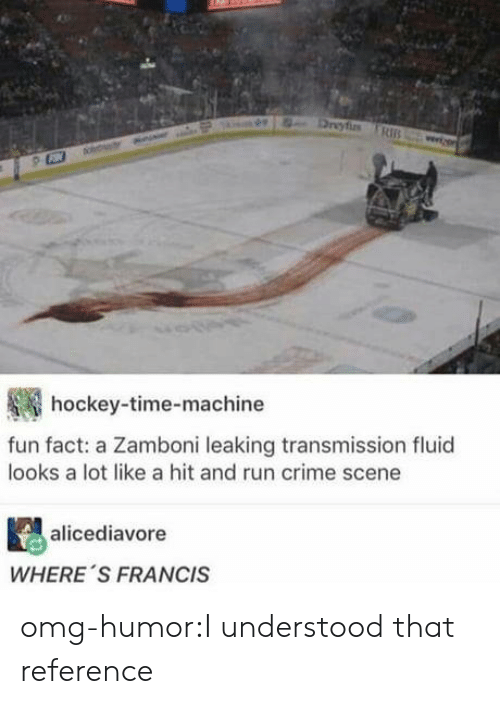 Leaking: hockey-time-machine  fun fact: a Zamboni leaking transmission fluid  looks a lot like a hit and run crime scene  alicediavore  WHERE 'S FRANCIS omg-humor:I understood that reference