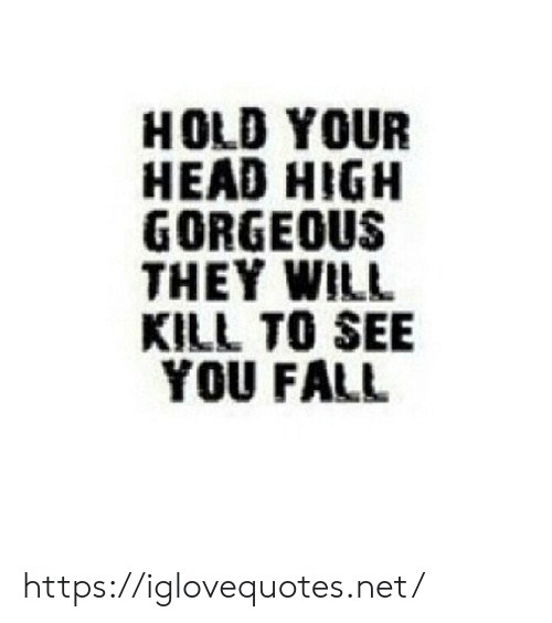 Fall, Head, and Gorgeous: HOLD YOUR  HEAD HIGH  GORGEOUS  THEY WILL  KILL TO SEE  YOU FALL https://iglovequotes.net/