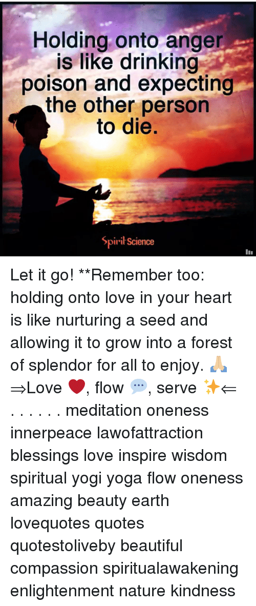 Beautiful, Drinking, and Love: Holding onto ange  is like drinking  poison and expecting  the other person  to die.  SpiriScience Let it go! **Remember too: holding onto love in your heart is like nurturing a seed and allowing it to grow into a forest of splendor for all to enjoy. 🙏🏼 ⇒Love ❤️, flow 💬, serve ✨⇐ . . . . . . meditation oneness innerpeace lawofattraction blessings love inspire wisdom spiritual yogi yoga flow oneness amazing beauty earth lovequotes quotes quotestoliveby beautiful compassion spiritualawakening enlightenment nature kindness