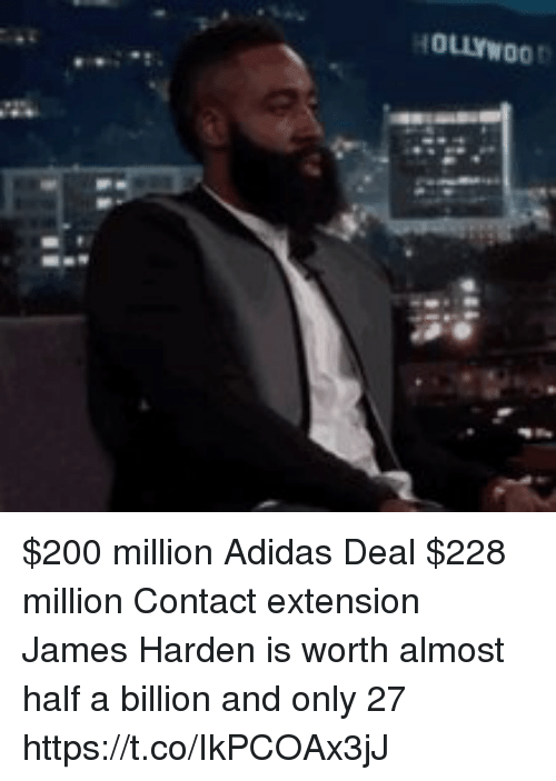 Adidas, Bailey Jay, and James Harden: HOLLYWOO $200 million Adidas Deal $228 million Contact extension   James Harden is worth almost half a billion and only 27 https://t.co/IkPCOAx3jJ