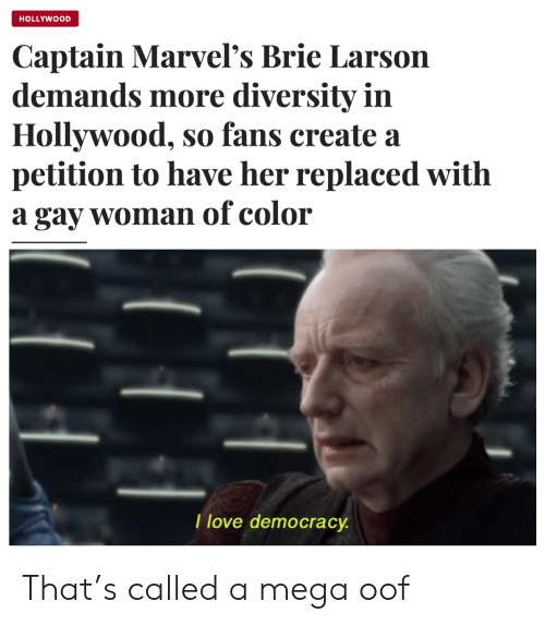 petition: HOLLYWOOD  Captain Marvel's Brie Larson  demands more diversity in  Hollywood, so fans create a  petition to have her replaced with  a gay woman of color  I love democracy That's called a mega oof