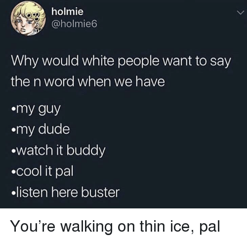 Dude, White People, and Cool: holmie  @holmie6  Why would white people want to say  the n word when we have  my guy  .my dude  watch it buddy  .cool it pal  listen here buster You're walking on thin ice, pal