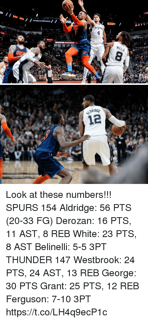 Memes, Ferguson, and Spurs: HOLT  26 27 6 3T  SPA  SMARTER IMAGING  OKF Look at these numbers!!!  SPURS 154 Aldridge: 56 PTS (20-33 FG) Derozan: 16 PTS, 11 AST, 8 REB White: 23 PTS, 8 AST Belinelli: 5-5 3PT  THUNDER 147 Westbrook: 24 PTS, 24 AST, 13 REB George: 30 PTS Grant: 25 PTS, 12 REB Ferguson: 7-10 3PT https://t.co/LH4q9ecP1c