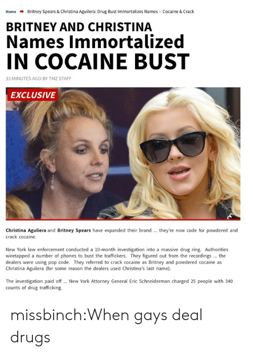 Britney Spears, Drugs, and New York: Home  Britney Spears & Christina Aguilera: Drug Bust Immortalizes Names-Cocaine & Crack  BRITNEY AND CHRISTINA  Names Immortalized  IN COCAINE BUST  33 MINUTES AGO BY TMZ STAFF  EXCLUSIVE  Christina Aguliera and Britney Spears have expanded their brand  crack cocaine.  they're now code for powdered and  New York law enforcement conducted a 10-month investigation into a massive drug ring. Authorities  wiretapped a number of phones to bust the traffickers. They figured out from the recordings the  dealers were using pop code. They referred to crack cocaine as Britney and powdered cocaine as  Christina Aguilera (for some reason the dealers used Christina's last name).  The investigation paid off  counts of drug trafficking.  New York Attorney General Eric Schneiderman charged 25 people with 340 missbinch:When gays deal drugs