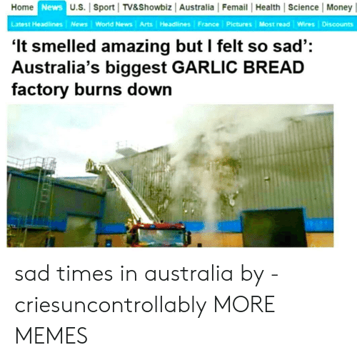 World News: Home  News  U.S. Sport TV&Showbiz Australia Femail Health Science Money|  Latest Headlines News World News Arts Headlines France Pictures Most read Wires Discounts  'It smelled amazing but I felt so sad':  Australia's biggest GARLIC BREAD  factory burns down sad times in australia by -criesuncontrollably MORE MEMES